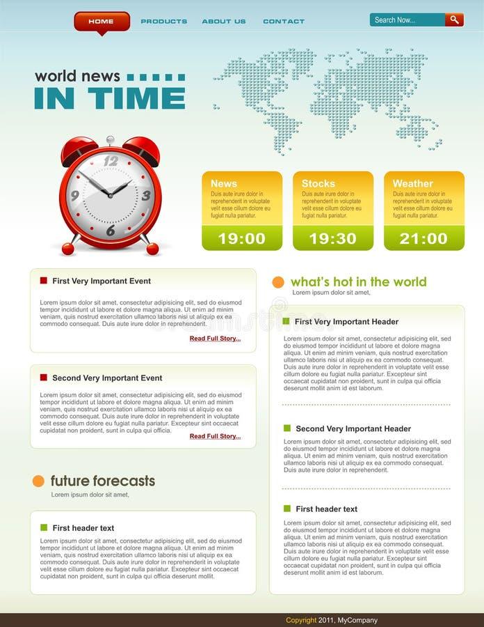 Molde relacionado do infographics do Web page da notícia ilustração do vetor