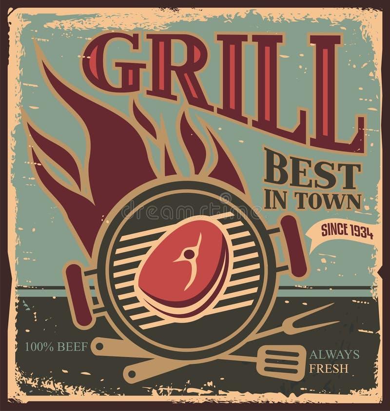 Molde retro do cartaz do BBQ com bife fresco. ilustração do vetor