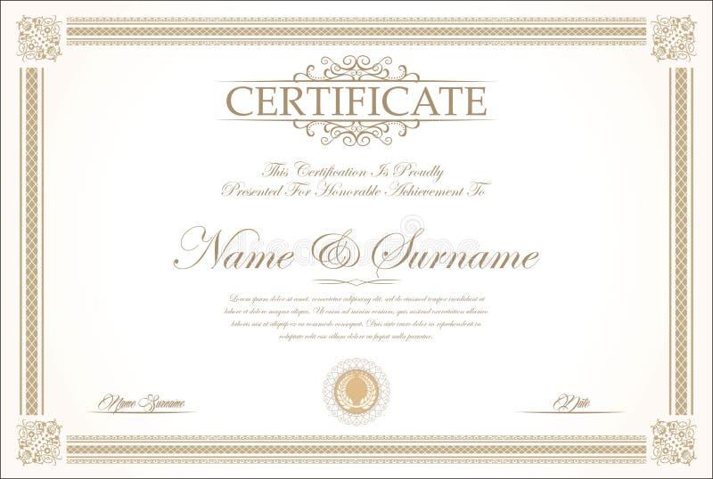 Molde retro do certificado ou do diploma foto de stock royalty free