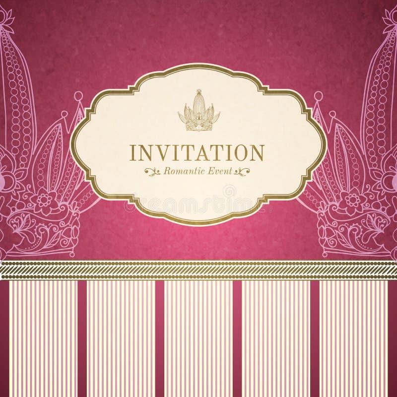 Molde retro do convite da princesa ilustração royalty free