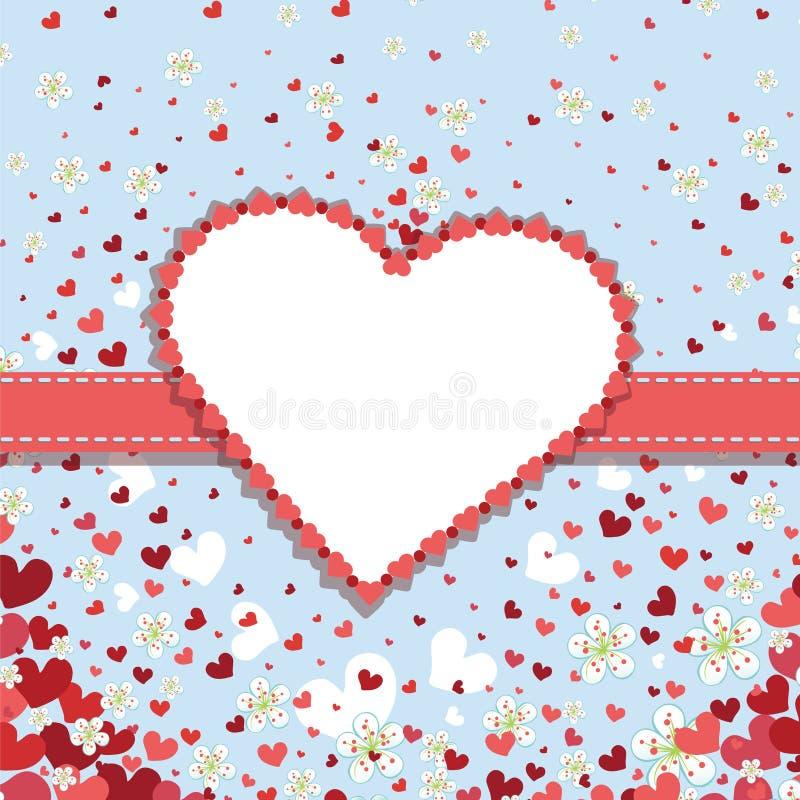Molde retro do projeto do casamento com corações e spri ilustração do vetor