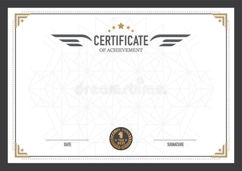 Molde retro do projeto do certificado ilustração do vetor