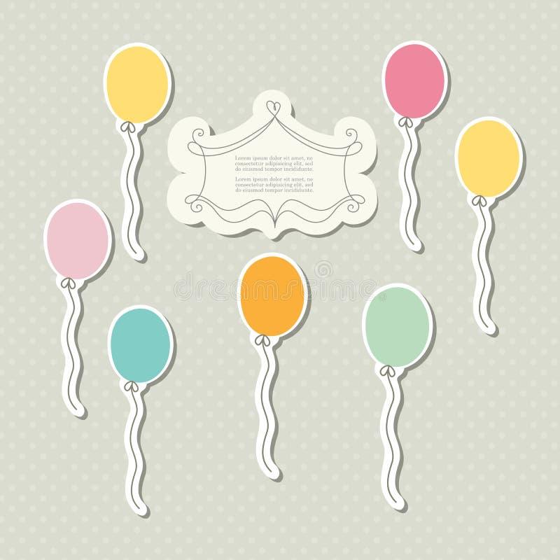 Molde romântico do registro da sucata para o convite, cumprimento, cartão da festa do bebê, etiqueta do feliz aniversario, quadro ilustração do vetor