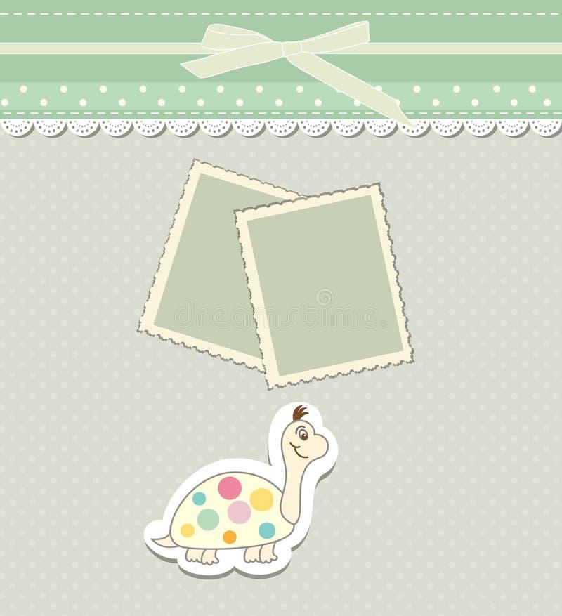 Molde romântico do registro da sucata para o convite, cumprimento, cartão da festa do bebê, etiqueta do feliz aniversario, quadro ilustração royalty free