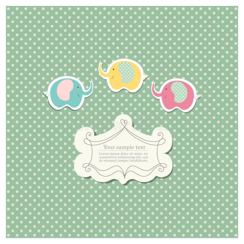 Molde romântico do registro da sucata para o convite, cumprimento, cartão da festa do bebê, etiqueta do feliz aniversario, quadro ilustração stock