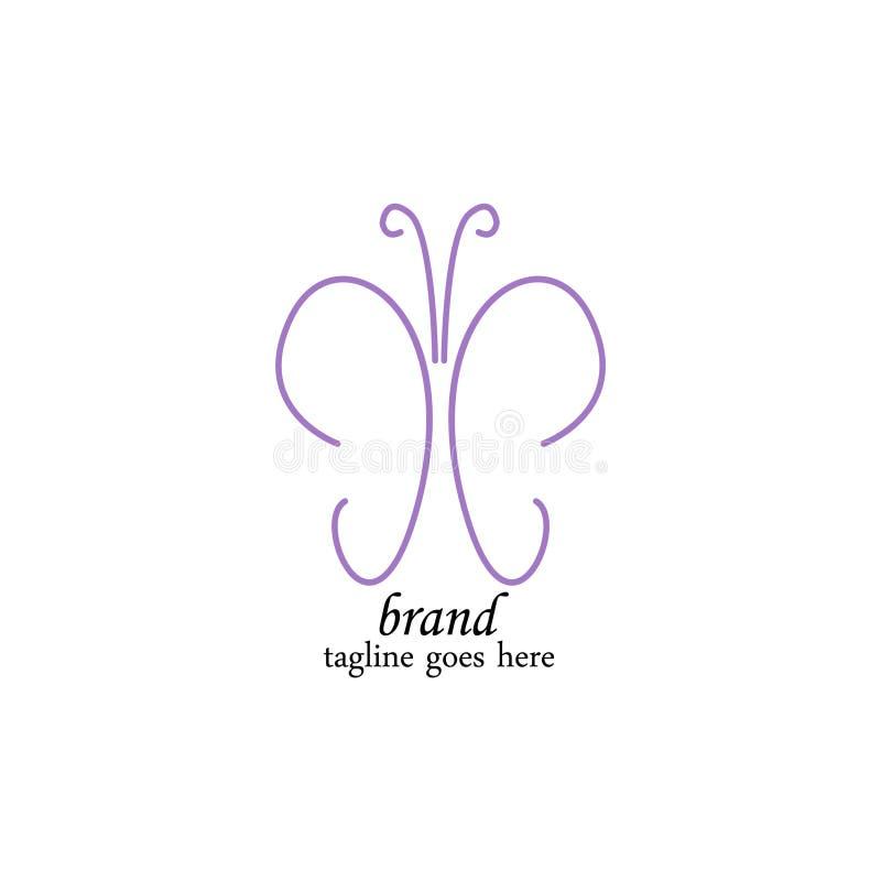Molde roxo luxuoso do logotipo da borboleta ilustração royalty free