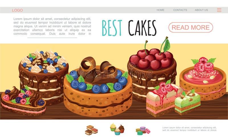 Molde saboroso do página da web dos bolos dos desenhos animados ilustração royalty free
