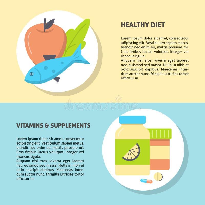 Molde saudável do inseto do alimento e do conceito das vitaminas no estilo liso ilustração stock