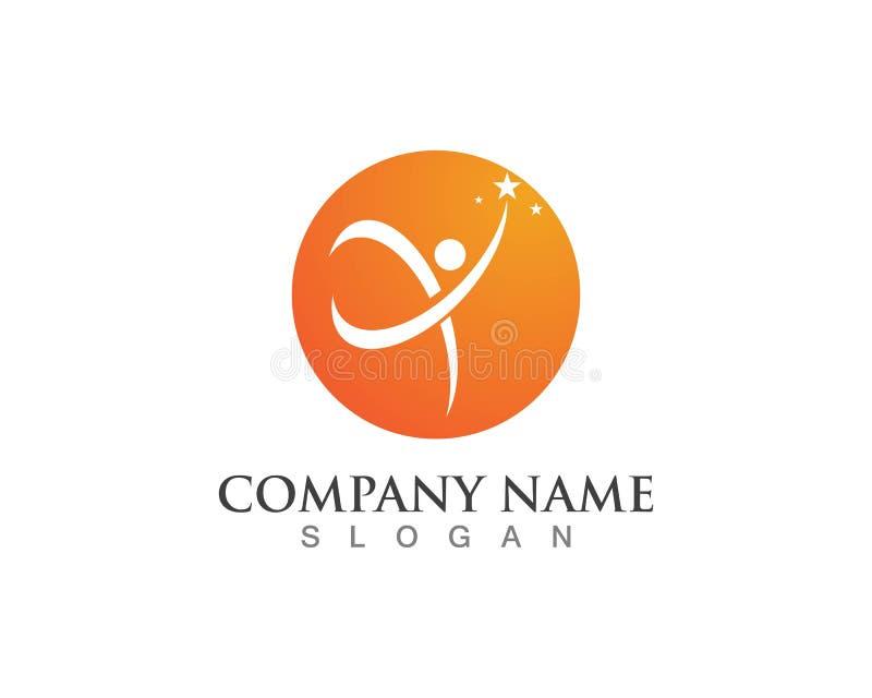 Molde saudável do logotipo do ícone da vida dos povos do divertimento ilustração royalty free