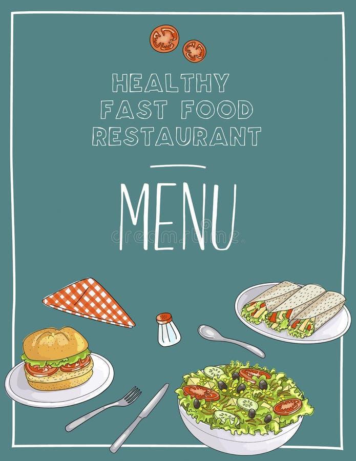Molde saudável do menu do restaurante do fast food ilustração royalty free