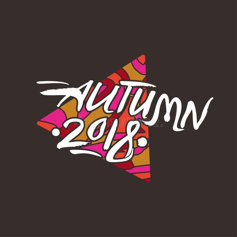 Molde 2018 sazonal do vetor do logotipo do outono da arte em um fundo escuro ilustração royalty free