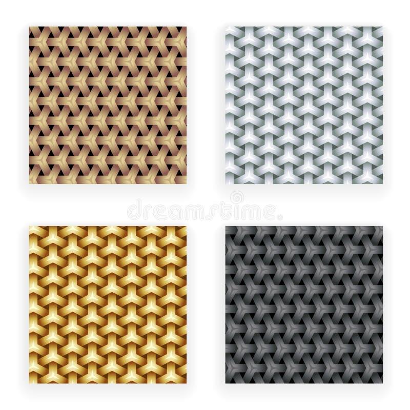 Molde sem emenda da cenografia dos testes padrões do cobre da prata do ouro do metal na ilustração abstrata à moda do vetor do fu ilustração stock