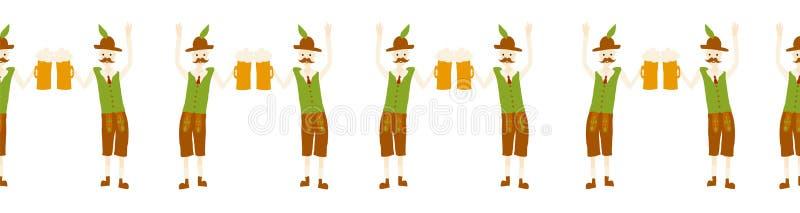 Molde sem emenda do projeto da beira do partido de Oktoberfest Ilustra??o do vetor Partido do festival da cerveja que repete a ba ilustração royalty free