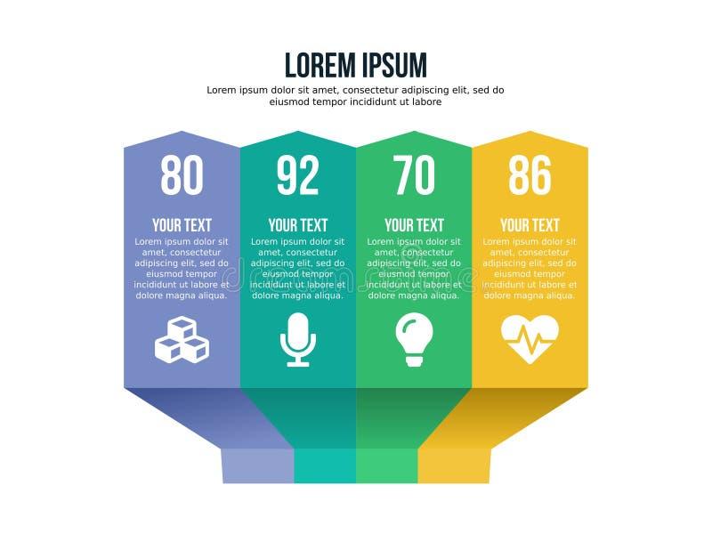 Molde sextavado do elemento de Infographic e cor completa de PowerPoint foto de stock