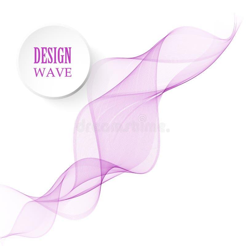 Molde simples branco com ondas roxas Fundo claro com a fita ondulada violeta ilustração royalty free