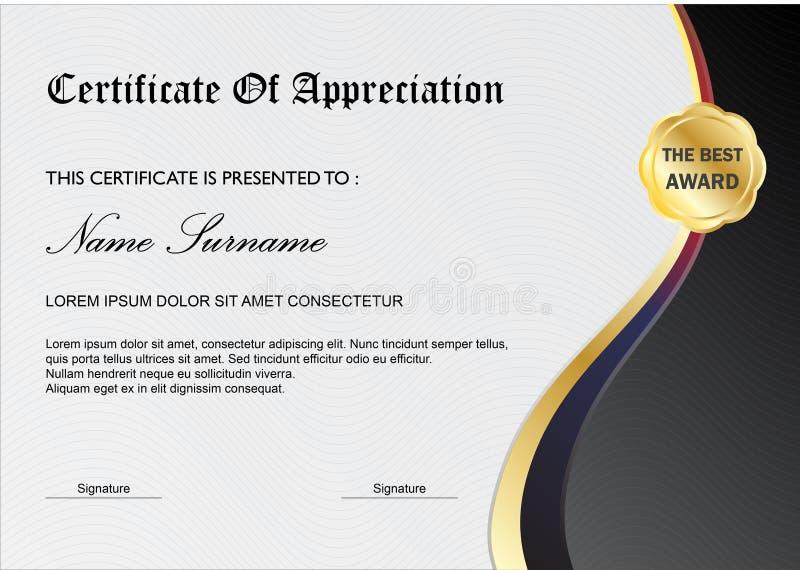 Molde simples da concessão do certificado/diploma, Gray Black ilustração do vetor