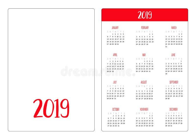 Molde simples do ano novo de disposição de calendário 2018 do bolso A semana começa domingo Orientação vertical Projeto liso Fund ilustração stock