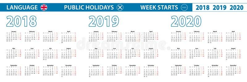 Molde simples do calendário em inglês para 2018, 2019, 2020 anos A semana parte de segunda-feira ilustração stock