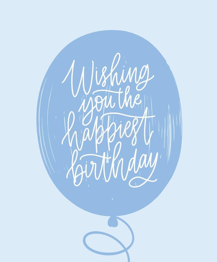 Molde simples do cartão com o desejo do aniversário escrito à mão no balão azul com fonte caligráfica cursivo à moda ilustração stock