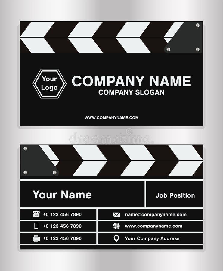 Molde simples do cartão de nome da empresa do tema do clapperboard para o diretor de filme ilustração do vetor
