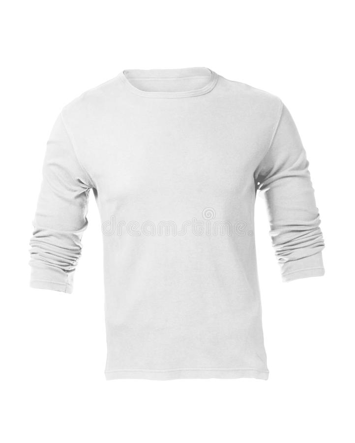 Molde Sleeved longo branco vazio da camisa dos homens foto de stock