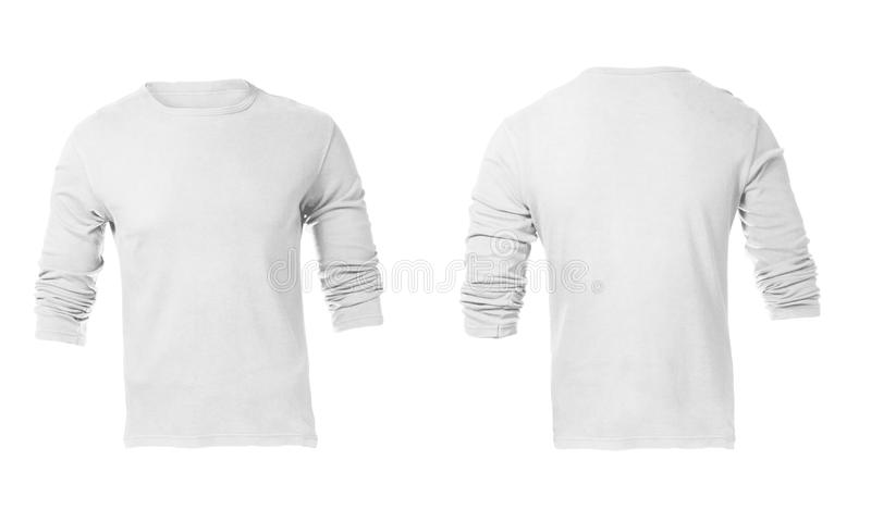 Molde Sleeved longo branco vazio da camisa dos homens fotos de stock