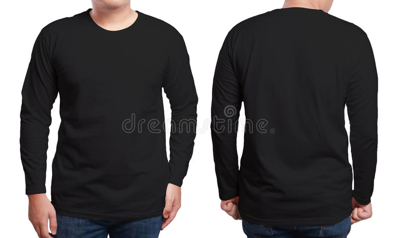 Molde Sleeved longo preto do projeto da camisa foto de stock royalty free
