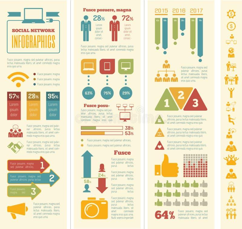 Molde social de Infographic dos meios ilustração royalty free