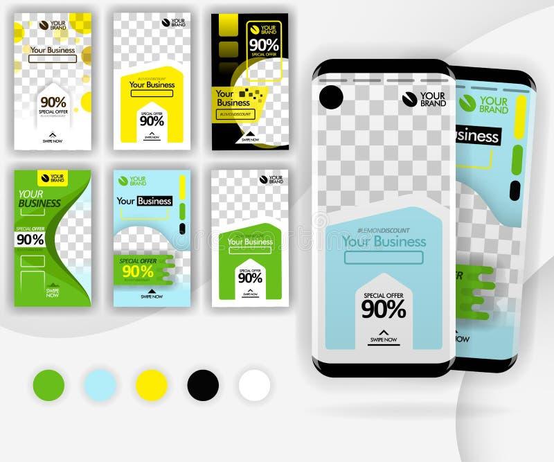 Molde social do furto dos meios com um smartphone do modelo para o mercado do Internet, a promoção, anúncios, negócio em linha, p ilustração do vetor