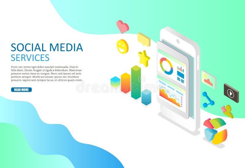 Molde social do projeto da bandeira da Web do vetor dos serviços de meios ilustração stock