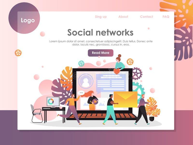 Molde social do projeto da página da aterrissagem do Web site do vetor das redes ilustração royalty free