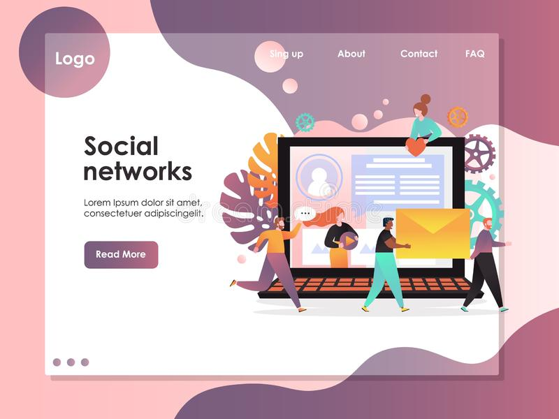 Molde social do projeto da página da aterrissagem do Web site do vetor das redes ilustração stock
