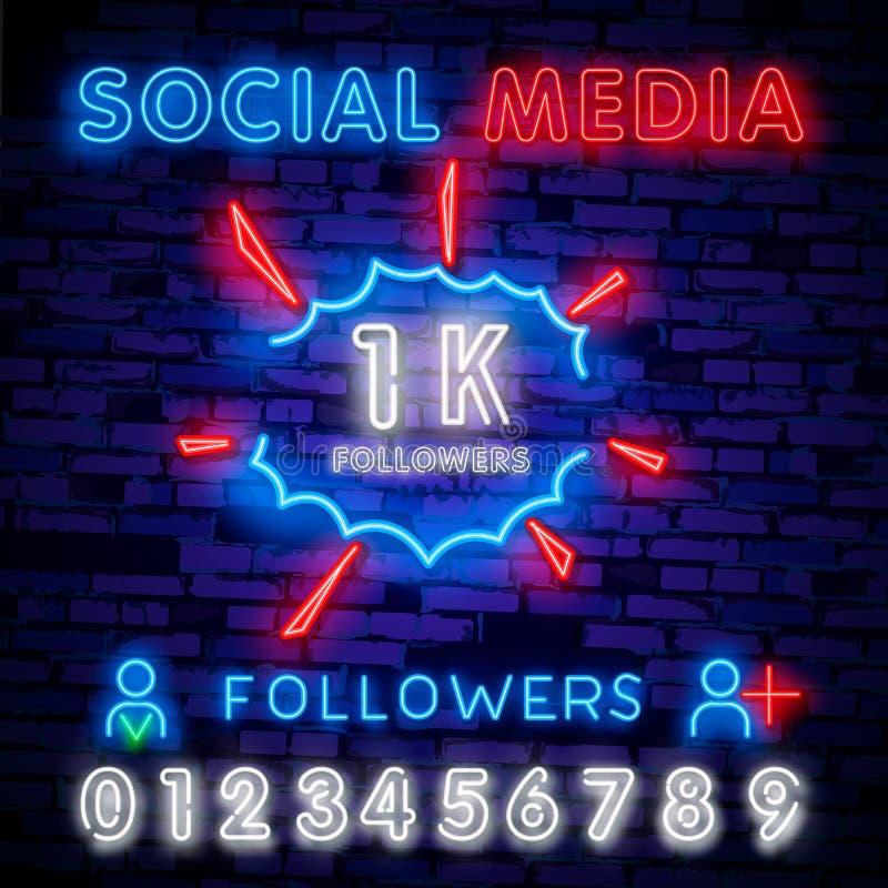 Molde social do projeto do sinal de néon dos meios 1K logotipo, tendência colorida do projeto moderno do elemento claro do projet ilustração do vetor