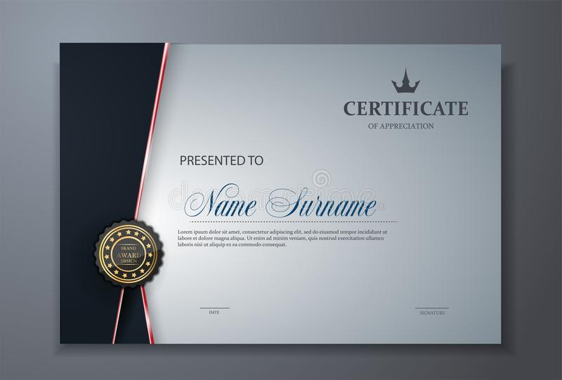 Molde superior moderno do projeto da concessão do certificado ilustração stock