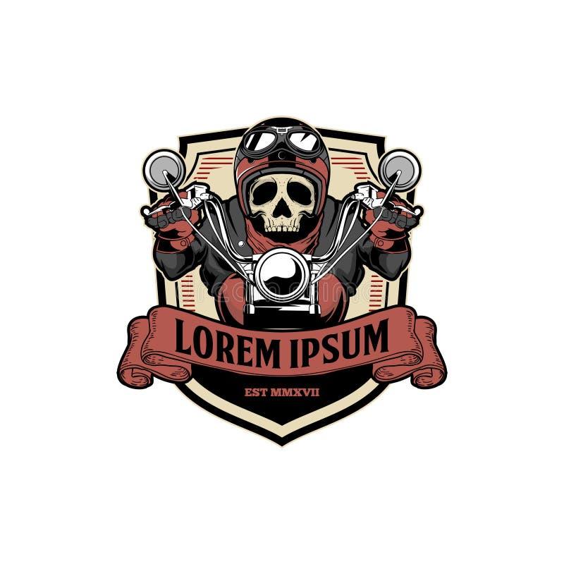 Molde surpreendente e original do logotipo do crachá do vetor da motocicleta do passeio do motociclista do crânio da velha escola ilustração do vetor