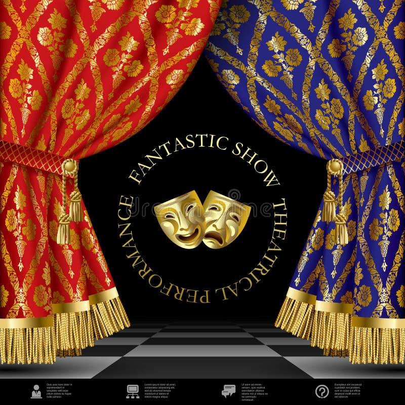 Molde teatral com as cortinas e máscaras azuis e vermelhas ilustração stock