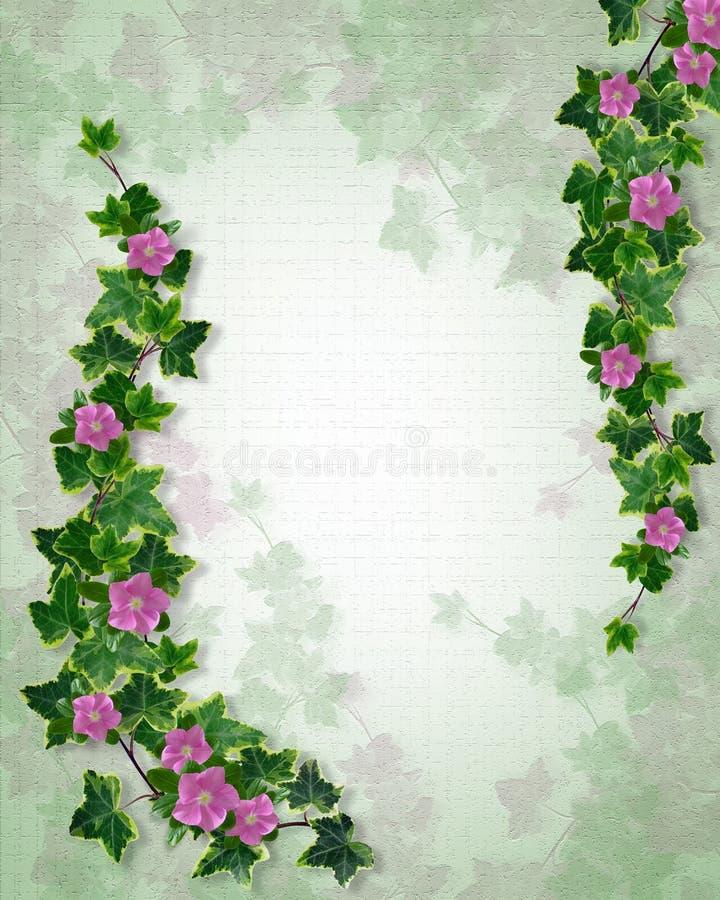 Molde textured floral do convite do casamento ilustração do vetor