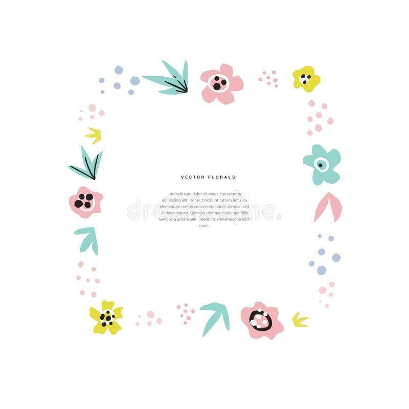 Molde tirado do quadro de texto mão lisa floral ilustração royalty free
