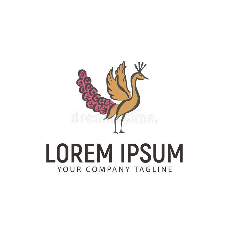 Molde tirado mão do conceito de projeto do logotipo do pavão ilustração do vetor