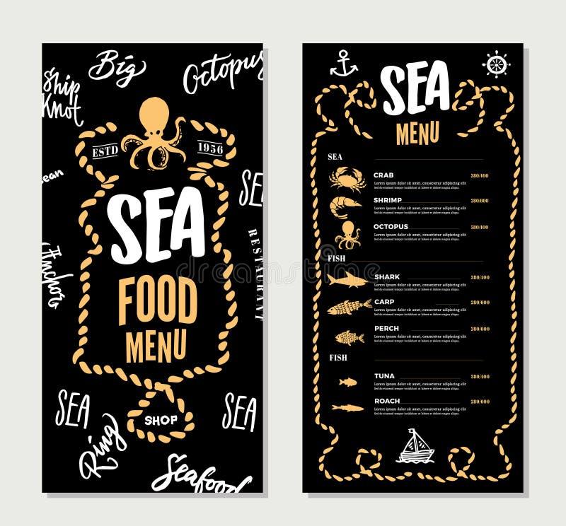 Molde tirado mão do menu do restaurante do marisco ilustração royalty free