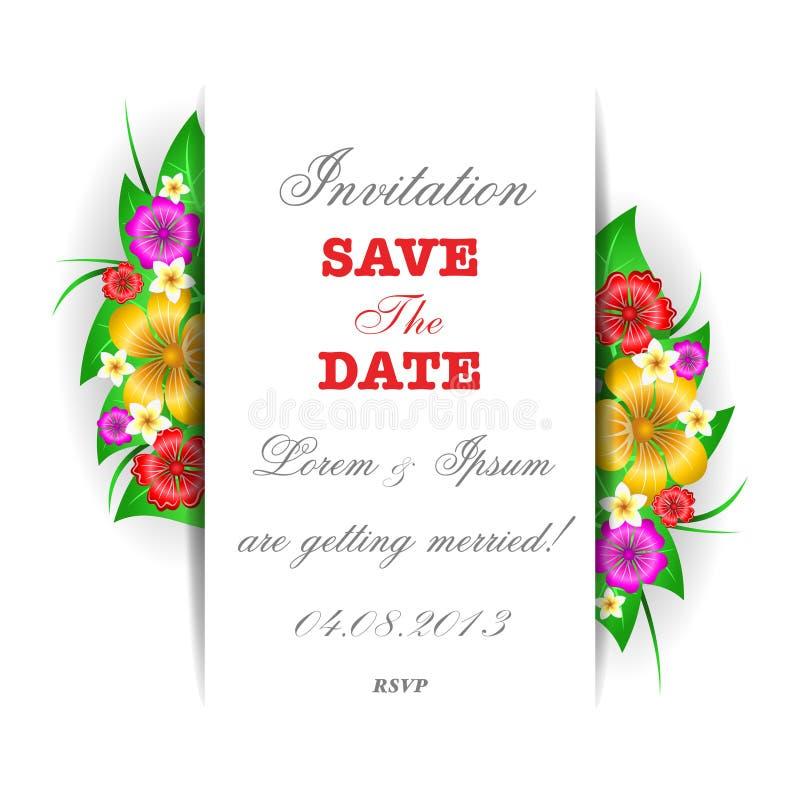 Molde tropical do cartão do convite das flores ilustração do vetor