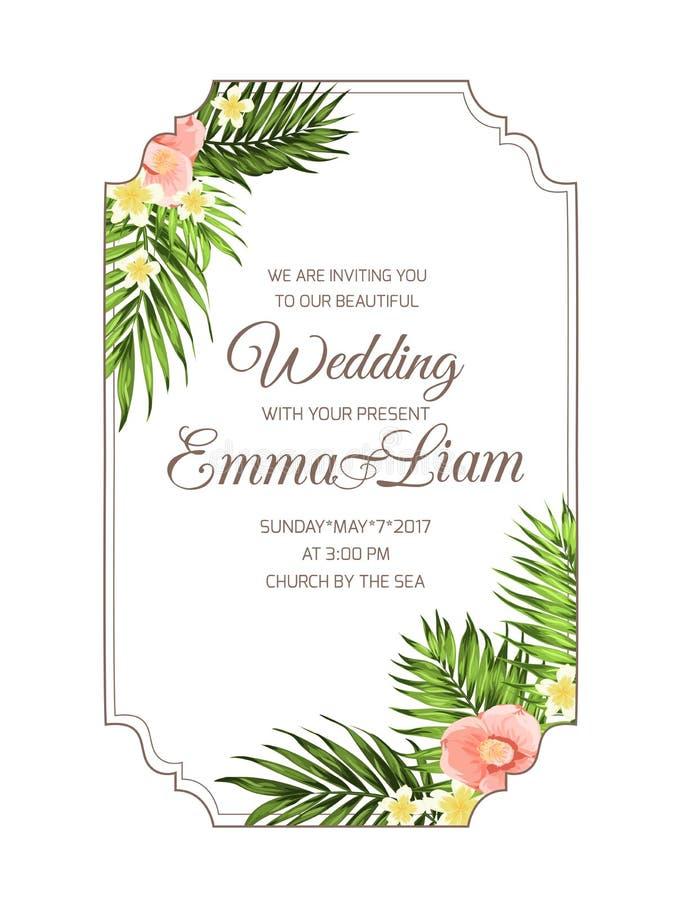 Molde tropical exótico do cartão do convite do casamento ilustração royalty free