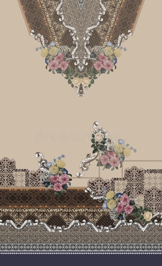 Flowers geometric design romantic barroque gold fashion royalty free illustration