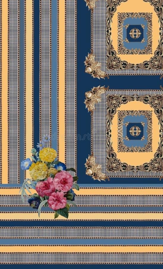 Geometric blue yellow flowers lines baroque royalty free illustration
