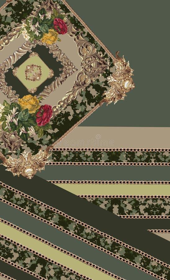 Geometric green flowers design lines stock illustration