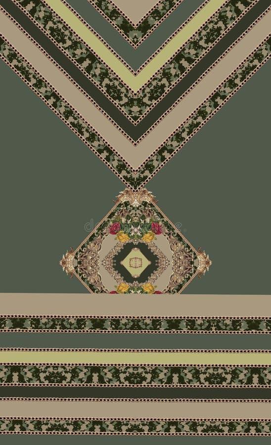 Baroque gold lines geometric green flowers vector illustration