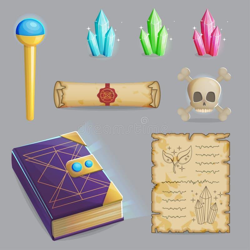 Molde um grupo do período mágico de ícones ilustração stock
