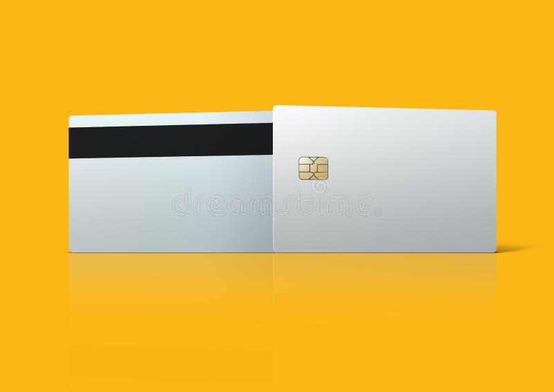 Molde vazio branco do cartão de banco no fundo alaranjado imagens de stock royalty free
