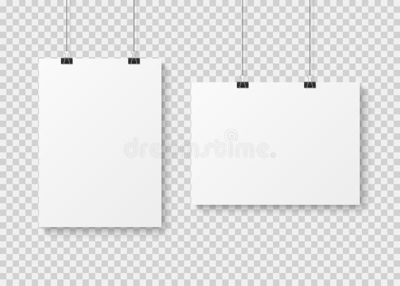 Molde vazio branco do cartaz Cartazes de papel da parede da apresentação, modelo de suspensão de anúncio limpo da bandeira da lon ilustração royalty free
