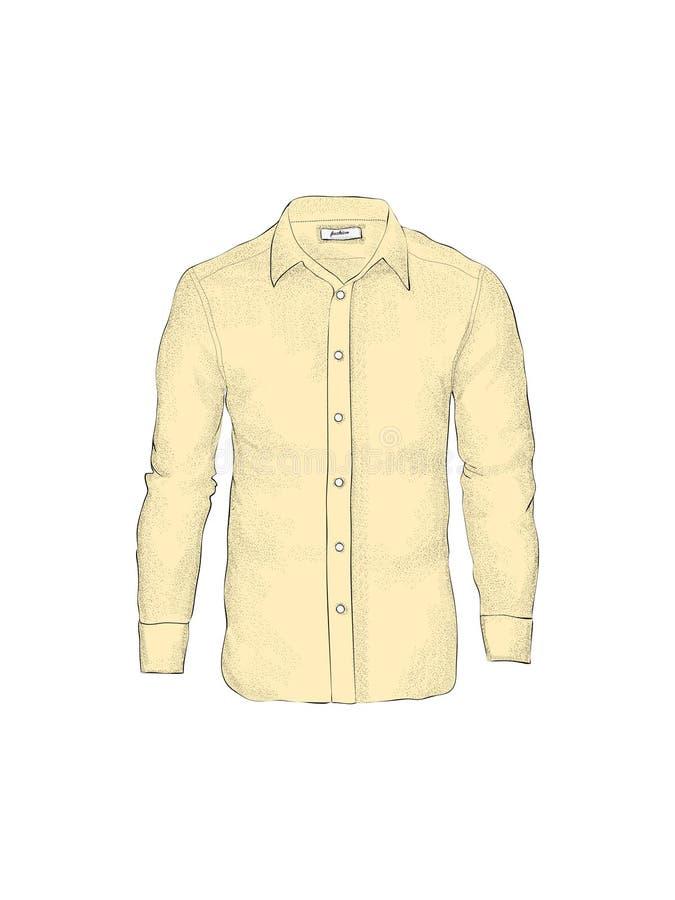 Molde vazio da camisa do ` s dos homens em vistas dianteiras Isolado no branco ilustração stock